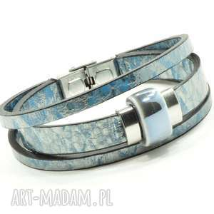 srebrno-niebieska z wzorem, ceramika, porcelana, skóra, stal