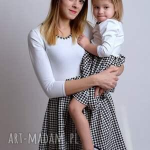 komplet sukienek w pepitke dla mamy i córki - pepitka, dresówka, dzianina