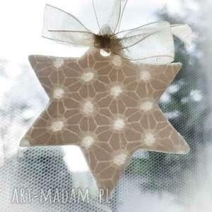 zawieszka porcelanowa gwiazdka - ozdoby choinkowe, święta, dekoracja