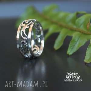srebrna koronka - ażurowa, obrączka, wirewrapping, srebrna, aniagrys, gwiazdoo