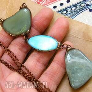 handmade wisiorki naszyjnik chwost wisiorek z łańcuszkiem: zielono - niebieski