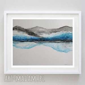 Pejzaż niebieski -akwarela formatu 24 18 cm paulina lebida