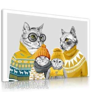 obraz drukowany na płótnie hipsterskie koty w swetrach formacie 120x80cm 02511