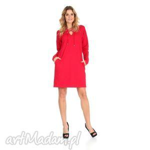 sukienki 46-sukienka sznurowany dekolt,czerwona,rękaw długi, lalu, sukienka, dzianina