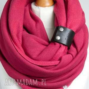 kominy różowy komin tuba szalik bawełniany z paskiem, zapinką modny zimowy