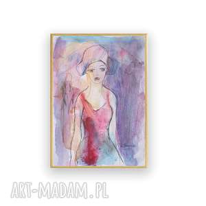oprawiony nowoczesny obraz, malowana ręcznie akwarela do salonu, portret szkic