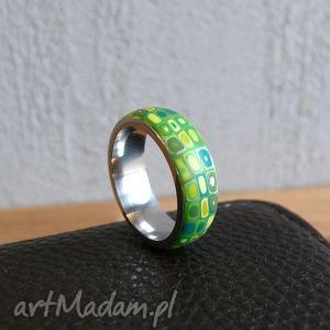 wiosenna obrączka - obrączka, pierścionek, zielony, geometryczne, wzorzyste