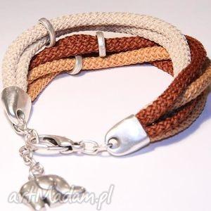 ręcznie zrobione beżowo-brązowa bransoletka ze sznurków poliestrowych