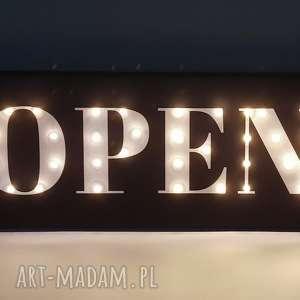 świecący napis open, otwarte,obraz led, dekoracja butiku, sklepu, pubu