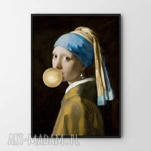 dziewczyna z perłą złoty balon - plakat 50x70 cm, plakat, plakaty, obraz, sztuka