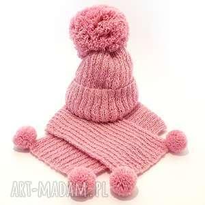 handmade ubranka handmade wełniany komplet dziecięcy czapka szalik (alpaka) 0 - 1 roku