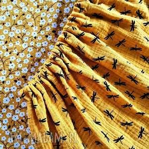 musztardowa spódnica z muślinu w ważki, żółć musztardowa, musztarda, muśłin