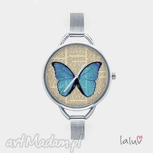zegarek z grafiką motylek, bransoletka, skrzydła, owad, kwiaty, prezent, czas