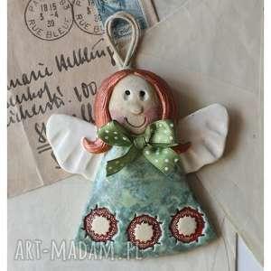 Aniołek plastusiowy w seledynowej sukience, ceramika, anioł