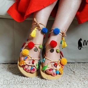 mrosoutache kolorowe rzymianki zdobione ręcznie, sandały, rzymianki, greckie