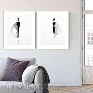 zestaw 2 grafik 40x50 cm wykonanych ręcznie, abstrakcja, elegancki minimalizm, obraz