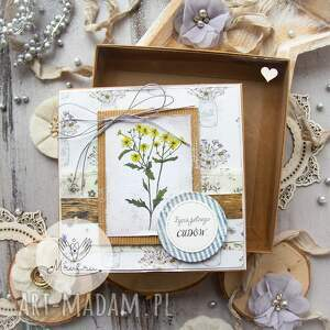 ręczne wykonanie scrapbooking kartki kartka z zielnika mrufru, pudełeczko efektem