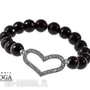 Silver heart in black. - ,serce,onyks,fasetowany,srebro,gumka,cyrkonie,