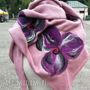 Prezent chusta róż pastel wrzos handmade wełniana, chusta, merynosy