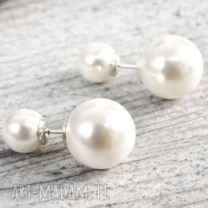 handmade kolczyki 925 srebrne podwójne kolczyki perełki