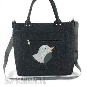 Gray bird on pocket/strap - ,torebka,ptaszek,filc,