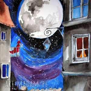 KIEDY PEŁNIA SIĘ WYPEŁNIA akwarela artystki plastyka Adriany Laube, akwarela, noc