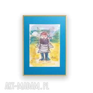 marynarski obrazek w ramce, marynarz akwarela, grafika żeglarska, malowany