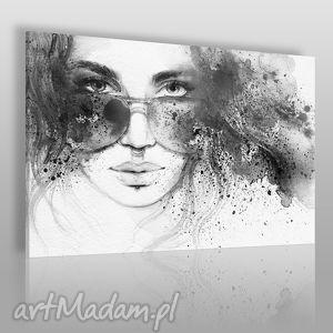 obraz na płótnie - kobieta czarno-biały 120x80 cm 39302, kobieta, okulary, piercing