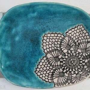 patera z turkusem, ceramiczna, patera, talerz, turkusowy, ceramiczny