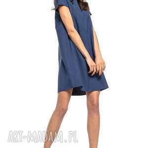 sukienka z kontrafałdą na plecach, t261, granatowy, sukienka, prosta, dziewczęca
