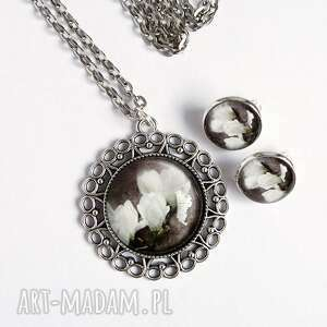 naszyjnik i klipsy - komplet magnolia, komplet, naszyjnik, medalion