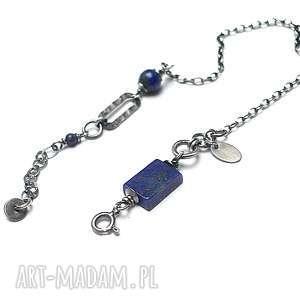 Lapis - bransoletka, srebro, oksydowane, lapis, lazuli