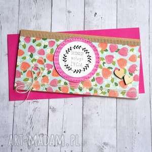 hand-made kartki kartka kopertówka - poziomki słodkiego miłego