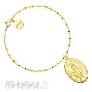 sotho złota bransoletka z medalikiem - żółte, łańcuszek