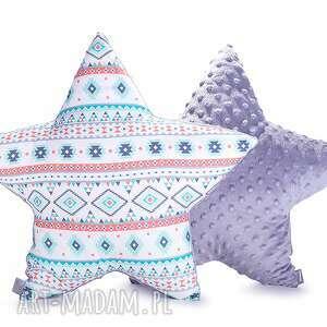 handmade pokoik dziecka poduszka gwiazda - aztec na szaro