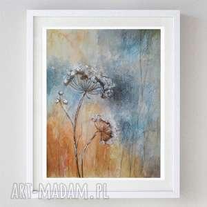 zimowe trawy -akwarela formatu 18/24 cm, trawy, akwarela, papier, zima, kredki