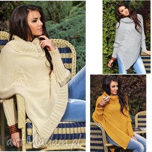 asymetryczny sweter ponczo, sweter, narzutka, wdzianko