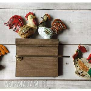 zestaw łazienkowy z kogutami, ceramika, wieszak, drewno, kogut, mydelniczka