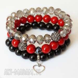 Set luxury marble, jades & real silver heart - ,zestaw,mamur,zawieszka,serce,serduszko,shamballa,