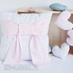 Poszewka na poduszkę z rożową kokardą, poduszka-dziecięca, poszewka-kokarda