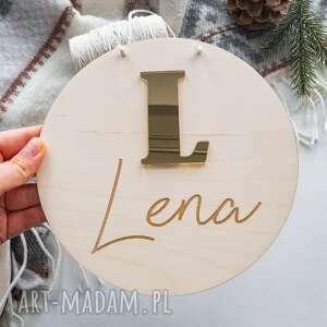 drewniana tabliczka - złota litera, dekoracja, z imieniem