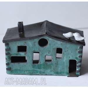 Niebieska kamienica lampion, ceramika, kamienica, domek, świeczka