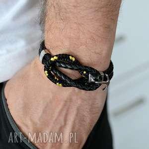 ręczne wykonanie męska bransoletka ze skóry i liny adventure czarna