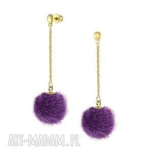 kolczyki z fioletowym pomponem - i ♥ pom poms lavoga - złote