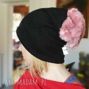 czapki czapka czarna ciepła wełna futro - box d1- ciepła, wełniana
