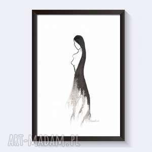 grafika czarno-białą, plat a4 kobieta, obraz ręcznie malowany, akwarela