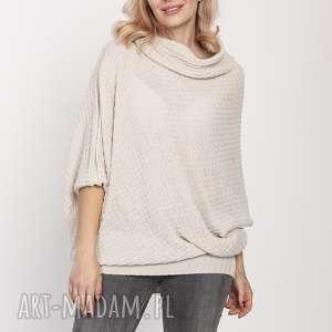 luźny sweter, swe205 beż mkm, luźny, golf, jesień, dopracy, doszkoły, beige