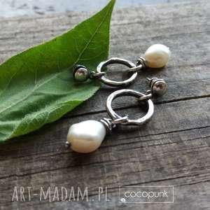 kolczyki z perłami - srebro 925 cocopunk - wiszące, perły