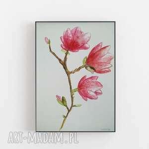 magnolie-akwarela formatu a4, magnolie, papier, kredki, akwarela, farba