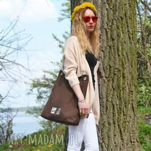 c3043a0e6d41d ... brązowa torba z blachą, bawełniana, plażowa, letnia, marynarska, ...
